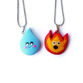Best Friends Necklace, Fire and Water, Aqua and Flame, BFF necklace, Best friends Keychain, Friendsip gift, Kawaii necklace, Under 30