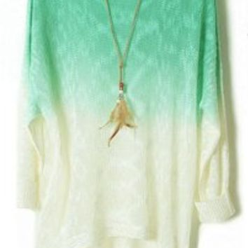 Generic Women Gradient Batwing Long Sleeve Loose Knitted Sweater:Amazon:Clothing