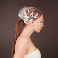 Blushing Butterfly - Bridal Tulle Birdcage veil - Made to Order