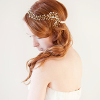 Whimsical Petals  - Bridal Hair piece with Swarovski Crystals