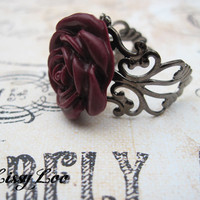 Burgandy Filigree Rose Rings  on Luulla