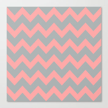 Chevron Gray Coral Pink Stretched Canvas by BeautifulHomes | Society6