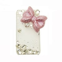 Handmade hard case for iPhone 4 & 4S: Bling cute pink bow with crystals (custom are welcome)