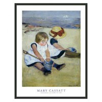 "Frames By Mail Children Playing on the Beach by Cassatt Framed Print - 32"" x 24"" - FLF76-BMG-RM"