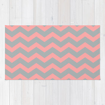 Chevron Gray Coral Pink Area & Throw Rug by BeautifulHomes | Society6
