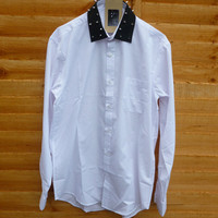 Black Spike Studded Collar White Boyfriend Shirt Oversized Blouse Vintage