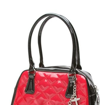 Bon Voyage Tote in Black and Shiny Red | Blame Betty