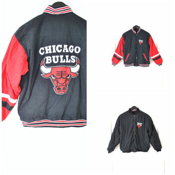 Chicago bulls starter jacket / vintage 80s REVERSIBLE small athletic basketball letterman coat