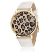 Geneva Platinum Women's Faux Leather Rhinestone Watch