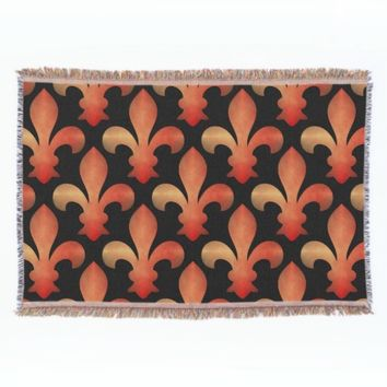 Red Gold Fleur de Lis Black Throw Blanket