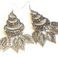 Silver Leaf Gypsy Fantasy Earrings