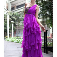 Buy Chic A-line One-shoulder Neckline Empire Sequins Silk Chiffon Graduation Dress  under 200-SinoAnt.com