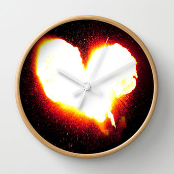 Heart of Fire Wall Clock by Legends of Darkness Photography