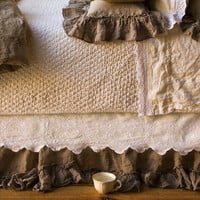 Bella Notte Dust Ruffle Embroidered Linen