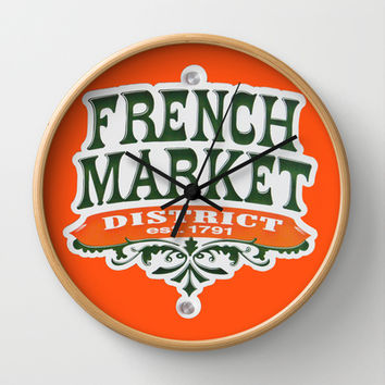 Signs: The French Market Wall Clock by Legends of Darkness Photography