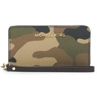 MICHAEL Michael Kors 'Jet Set Camo - Slim Tech' Saffiano Leather Wristlet