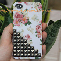 Black Pyramid Studs And Beautiful Flower  Hard Case Cover or Apple iPhone 4 Case, iPhone 4s Case, iPhone 4 Hard Case HW003