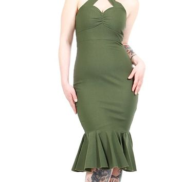 Cherry Dollface Dress in Olive | Blame Betty