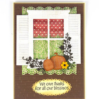 Handmade Thanksgiving Card - Thankful - Pumpkin - Fall - Autumn - Thanksgiving Cards - Greeting Cards - Green