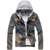 Partiss Mens Washed Denim Motorcycle Jacket