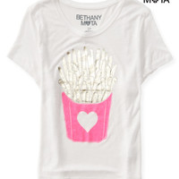 Aeropostale Womens Fry Love Crop Graphic T-Shirt - White,