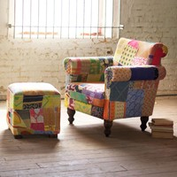 Recycled Cloth Patchwork Lounge Chair