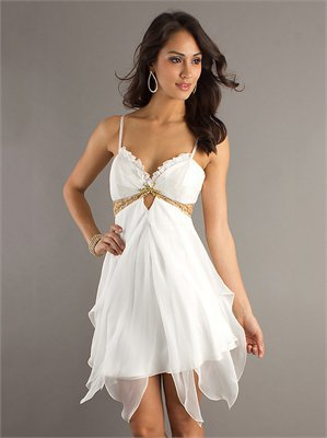 Sexy Spaghetti Strap V-neck Empire Waist Tulle White Prom Dress PD1905