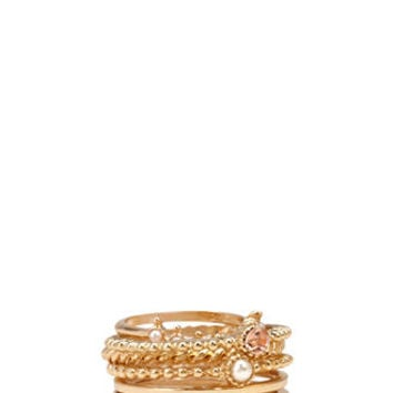 Faux Stone Twisted Ring Set