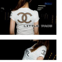 white chanel t-shirt logo cc gift for her | amouna - Clothing on ArtFire
