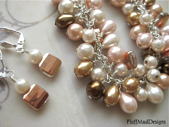 Pink Gold Chocolate Cream Swarovski & Glass Pearl Bracelet - Pink and Friends