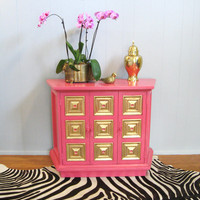 Vintage HOLLYWOOD REGENCY Hot Pink Gold Leaf CREDENZA Cabinet