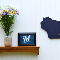 """Milwaukee Brewers """"State Heart"""" wall art, handcrafted wood featuring official team colors"""