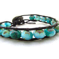 Bohemian Beach Wrap Bracelet Handmade on Maui, Hawaii. Picasso Czech Glass With Lucky Elephant Button