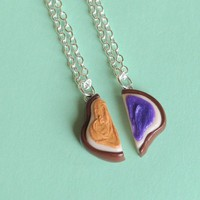 Handmade Peanut Butter and Jelly Sandwich Halves Best Friend Necklaces - Whimsical &amp; Unique Gift Ideas for the Coolest Gift Givers