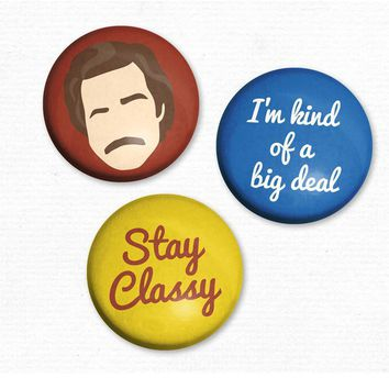 Ron Burgundy Anchor Man - Set of 3 Magnets - Whimsical & Unique Gift Ideas for the Coolest Gift Givers