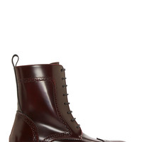 Studio Pollini Maroon Leather Wingtip Winchester Boots