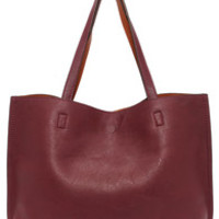 LULUS Exclusive Switch it Up Reversible Burgundy Tote