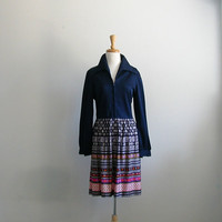 1970s Dress / blue dress / shirtwaist dress / zip up / abstract dress / med