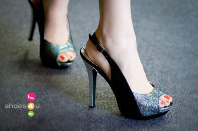 Wild Rose Lior-03 Black Glitter Peep Toe Slingback Pump