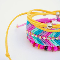 Stackable bracelets - Friendship bracelets arm candy - Rhinestone bracelet, wrap bracelet - Purple, pink, mint, yellow and blue - Set of 3