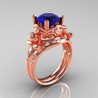 Art Masters Vintage 14K Rose Gold 3.0 Ct Blue Sapphire Diamond Wedding Ring Set R167S-14KRGDBS