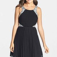 Way-In Embellished Pleated Skater Dress (Juniors)