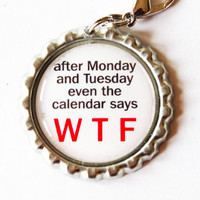 WTF, funny charm, zipper pull, purse charm, zipper pull, Funny Saying, Humor