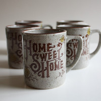 Vintage Home Sweet Home Mugs-Set of Five