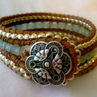 Bead Woven Aquamarine and Japanese Glass Triple Row Leather Wrap Cuff in Light Blue and Silver...