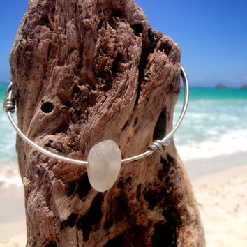 Hawaiian Thick Clear Beach Glass Wire Bangle Bracelet