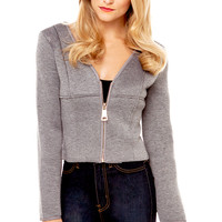 Exaggerated Zipper Neoprene Jacket in Grey/Black