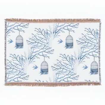 Blue Birdcage Bare Branches Throw Blanket