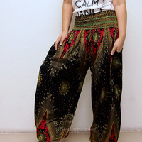 New Spring Colorful Feathers Boho Hippie Baggy Pants/ Harem Pants/ Aladdin Pants/ Genie Pants for Unisex (Black)