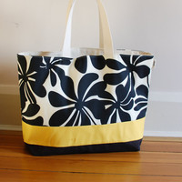 EXTRA Large Beach Bag // Tote in Black Floral with a pinch of Mustard